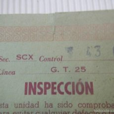 Scalextric: SCALEXTRIC EXIN DOCUMENTACION TARJETA DE INSPECCION CIRCUITO GT 25. Lote 57475278