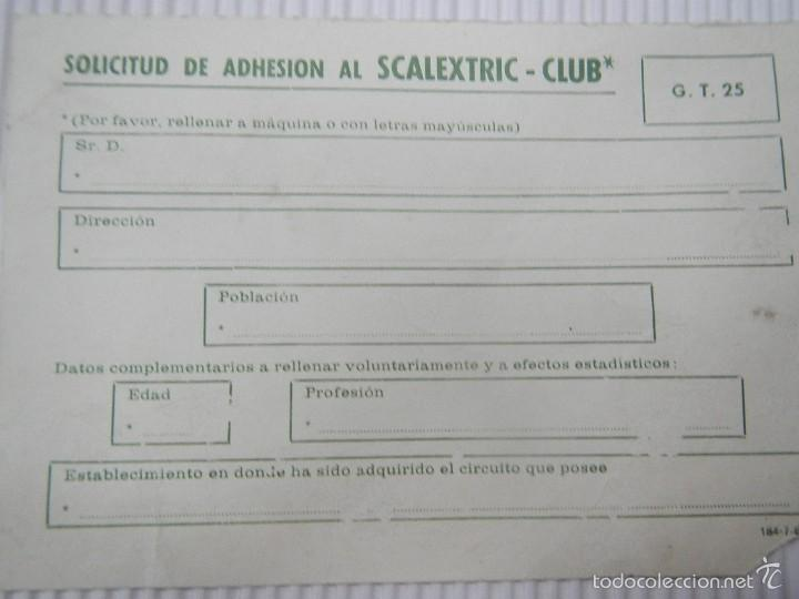 Scalextric: SCALEXTRIC EXIN DOCUMENTACION TARJETA CLUB CIRCUITO GT 25 - Foto 2 - 57475463