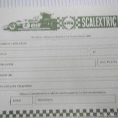 Scalextric: SCALEXTRIC EXIN DOCUMENTACION TARJETA CLUB CIRCUITO AÑOS 80. Lote 57475500