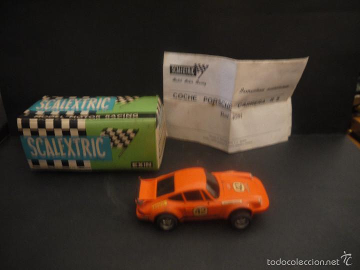 COCHE DE SCALEXTRIC POSCHE CARRERA RS REF-4051 DE EXIN CON CAJA Y PAPELES. (Juguetes - Slot Cars - Scalextric Exin)