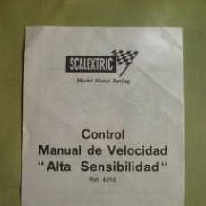 Scalextric: SCALEXTRIC INSTRUCCIONES CONTROL MANUAL VELOCIDAD ALTA SENSIBILIDAD. Lote 61213243