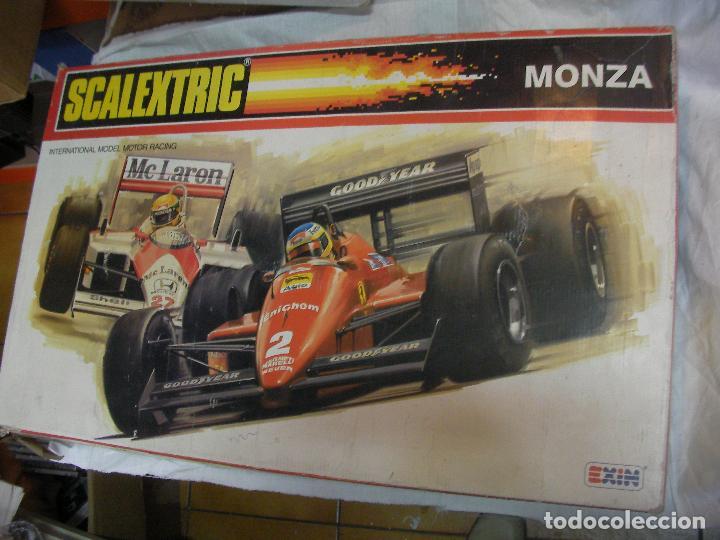 ANTIGUO CIRCUITO SCALEXTRIC EXIN MONZA CON COCHES Y ACCESORIOS (Juguetes - Slot Cars - Scalextric Exin)