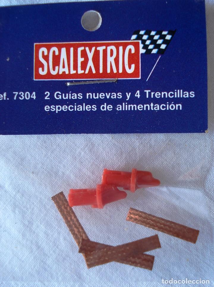 SCALEXTRIC SRS: 2 GUIAS NUEVAS Y 4 TRENCILLAS DE ALIMENTACIÓN DORADAS ¡¡NUEVO!! ORIGINAL. AÑOS 80 (Juguetes - Slot Cars - Scalextric Exin)