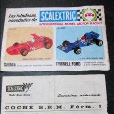 Scalextric: PEQUEÑO CARTEL PUBLICIDAD SCALEXTRIC 21/14 CM AÑO 1974 Y INSTRUCCIONES COCHE BRM FORM1. Lote 98041823