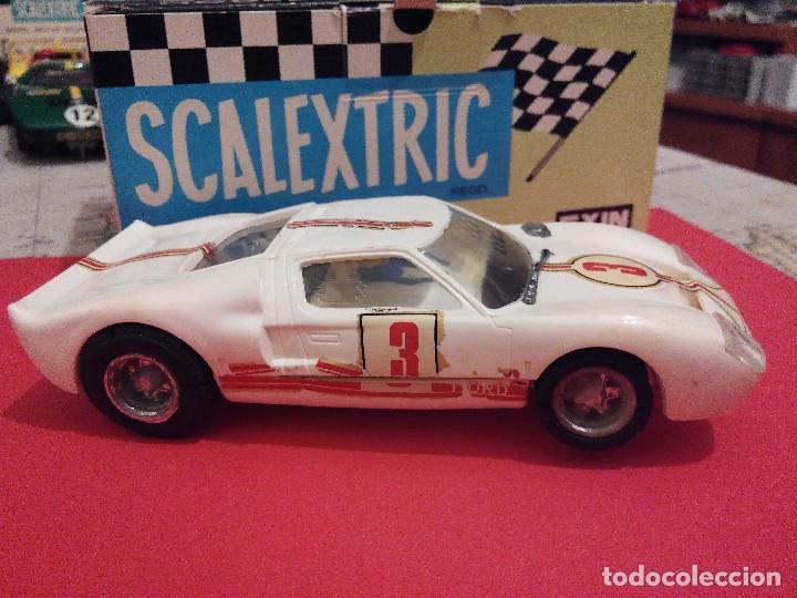 Scalextric: SCALEXTRIC EXIN FERRARI FORD GT BLANCO AÑOS 70 EN MUY BUEN ESTADO - Foto 3 - 104480459