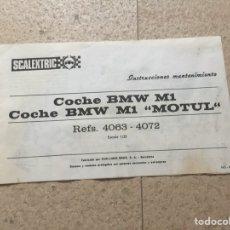 Scalextric: BMW M1-BMW M1 MOTUL. INSTRUCCIONES DE MANTENIMIENTO 100% ORIGINAL. SCALEXTRIC EXIN. Lote 105730991