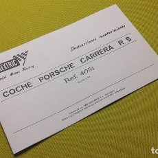 Scalextric: EXIN INSTRUCCIONES MANTENIMIENTO COCHE PORSCHE CARRERA RS REF - 4051. Lote 107730699