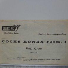Scalextric: HONDA F.1 DOCUMENTO INSTRUCCIONES ORIGINAL SCALEXTRIC EXIN SLOT 1:32, MUY BUEN ESTADO. Lote 107838691