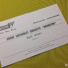 Scalextric: EXIN INSTRUCCIONES MANTENIMIENTO COCHE CORVETTE -DRAGSTER- REF- 4050. Lote 158600606