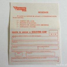 Scalextric: GT 23 G.T.23 TARJETA POSTAL SOLICITUD DE ADHESIÓN AL SCALEXTRIC CLUB ORIGINAL DE EXIN. Lote 109451451
