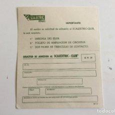 Scalextric: GP21 GP-21 TARJETA POSTAL SOLICITUD DE ADHESION AL SCALEXTRIC CLUB ORIGINAL DE EXIN. Lote 109452343