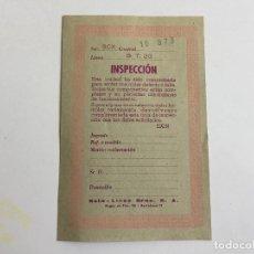 Scalextric: GT23 GT-23 TARJETA DE INSPECCION ORIGINAL DE EXIN . Lote 110141963