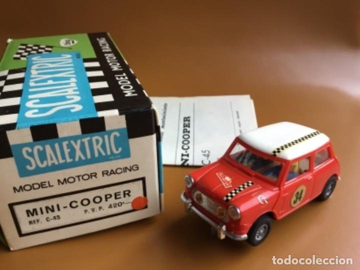 Scalextric: SCALEXTRIC EXIN. MINI COOPER ROJO CLARO . Con caja e instrucciones . Casco abierto. Muy bueno. - Foto 2 - 122192323