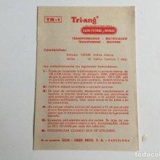 Scalextric: TR-1 TR1 TARJETA DE TRANSFORMADOR FOLLETO ORIGINAL DE EXIN. Lote 111510839