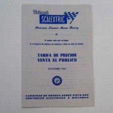 Scalextric: EXIN TARIFA DE PRECIOS DICIEMBRE 1964 (LEER DESCRIPCIÓN).. Lote 111480758
