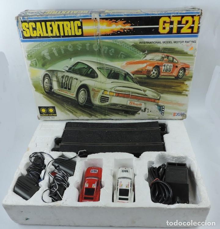CAJA DE SCALEXTRIC EXIN GT 21, CON LOS PORSCHE 959 ROJO Y BLANCO, (LE FALTAN LOS RETROVISORES), LA C (Juguetes - Slot Cars - Scalextric Exin)