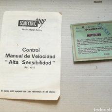Scalextric: DOCUMENTACION SCALEXTRIC EXIN, INSPECCION MANUAL VELOCIDAD. Lote 157837749