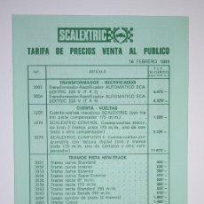 Scalextric: LISTADO CATALOGO TARIFA DE PRECIOS VENTA AL PUBLICO SCALEXTRIC EXIN 1989. Lote 160425230