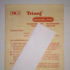 Scalextric: INSTRUCCIONES TRANSFORMADOR RECTIFICADOR TR 1 SCALEXTRIC EXIN MINIC TRIANG. Lote 160425950