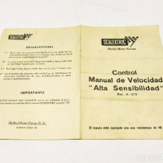 Scalextric: INSTRUCCIONES CONTROL MANUAL DE VELOCIDAD ALTA SENSIBILIDAD REF A-210 SCALEXTRIC EXIN. Lote 160860174