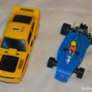 Scalextric: LOTE FERRARI B3 F1 AZUL Y FORD MUSTANG AMARILLO - SCALEXTRIC EXIN ORIGINAL - MADE IN SPAIN. Lote 163966514