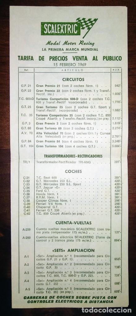 CATALOGO TARIFA PRECIOS VENTA PUBLICO LISTADO TARIFAS SCALEXTRIC EXIN FEBRERO 1969 (Juguetes - Slot Cars - Scalextric Exin)