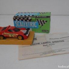 Scalextric - COCHE SCALEXTRIC EXIN, LACIA STRATOS ROJO, REF 4055, CAJA ORIGINAL E INSTRUCCIONES - 165608982