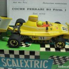 Scalextric: FERRARI B-3 FÓRMULA 1 RFª 4052 AMARILLO. 100 % ORIGINAL. CON INSTRUCCIONES TAMBIÉN ORIGINALES. Lote 132936562