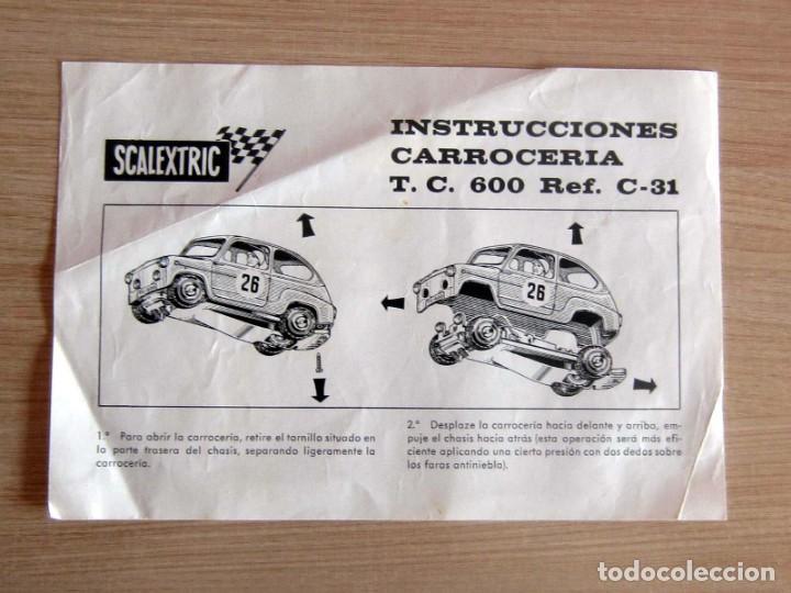 Scalextric: T.C. 600-D SOBRE DOCUMENTACIÓN COMPLETO ORIGINAL - Foto 11 - 172385352