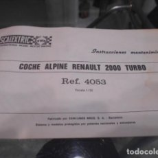 Scalextric: SCALEXTRIC INSTRUCCIONES MANTENIMIENTO COCHE ALPINE RENAULT TURBO 2000. Lote 186312258