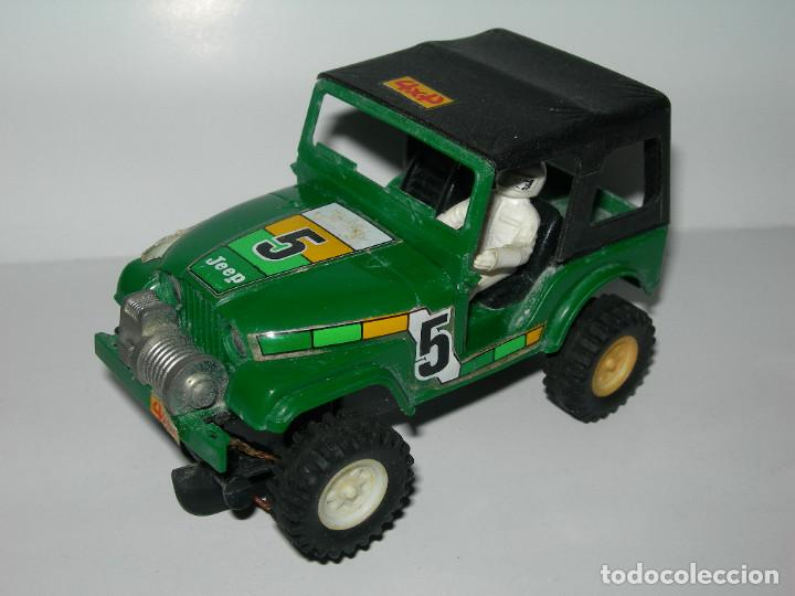 ANTIGUO COCHE TODOTERRENO 4X4 JEEP VERDE DE SCALEXTRIC STS ORIGINAL EXIN - MADE IN SPAIN - (Juguetes - Slot Cars - Scalextric Exin)