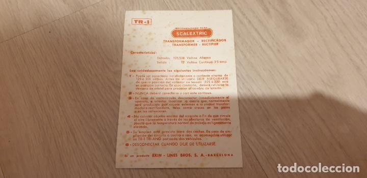 TR-1 TR1 FOLLETO TRANSFORMADOR ORIGINAL DE EXIN DOCUMENTACION (Juguetes - Slot Cars - Scalextric Exin)