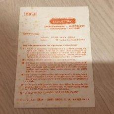 Scalextric: TR-1 TR1 FOLLETO TRANSFORMADOR ORIGINAL DE EXIN DOCUMENTACION. Lote 191105132