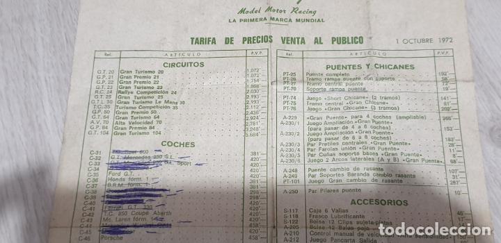 Scalextric: TARIFA DE PRECIOS VENTA AL PÚBLICO FOLLETO ORIGINAL DE EXIN 1 OCTUBRE 1972 - Foto 2 - 194108793