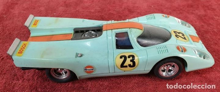 Scalextric: COCHE SCALEXTRIC. PORSCHE 917. CARROCERÍA EN VERDE AZULADO. REF C-46. ESPAÑA. 1972. - Foto 2 - 196157460