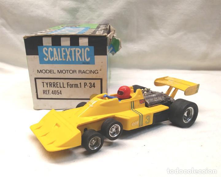 TYRRELL P34 AMARILLO REF 4054 DE EXIN SCALEXTRIC AÑOS 70, CON CAJA (Juguetes - Slot Cars - Scalextric Exin)