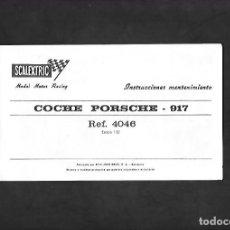 Scalextric: ANTIGUO MANUAL DE SCALEXTRIC INSTRUCCIONES MANTENIMIENTO COCHE PORSCHE - 917 REF 4046. Lote 200055240