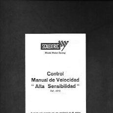 Scalextric: ANTIGUO MANUAL DE SCALEXTRIC CONTROL MANUAL DE VELOCIDAD ALTA SENSIBILIDAD REF. 4210. Lote 200059356