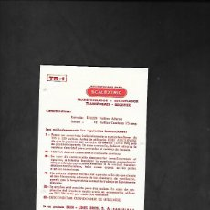 Scalextric: ANTIGUA TARJETA DE INSTRUCCIONES DEL TRANSFORMADOR TR - 1 DE SCALEXTRIC. Lote 200112422