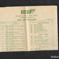 Scalextric: ANTIGUO FOLLETO DE LISTA DE ARTICULOS 20 MAYO 1977 DE SCALEXTRIC. Lote 200119988