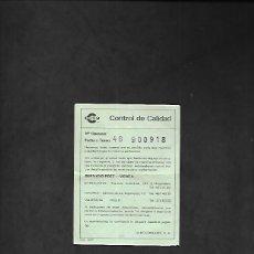 Scalextric: ANTIGUO FOLLETO DE CONTROL DE CALIDAD DE CONGOST. Lote 200123402