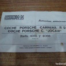 Scalextric: EXIN INSTRUCCIONES MANTENIMIENTO ORIGINAL COCHE PORSCHE CARRERA R S COCHE C.JOCAVI REF 4051. Lote 204118138