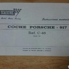 Scalextric: INSTRUCCIONES ORIGINALES PORSCHE 917 REF C-46 SCALEXTRIC EXIN. Lote 205861277
