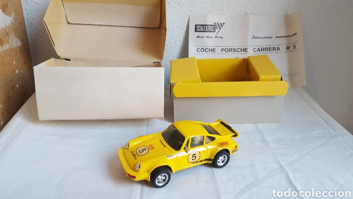 ANTIGUO COCHE - SCALEXTRIC - ORIGINAL EXIN PORSCHE 911 CARRERA RS REF 4051 AMARILLO -MUY BUEN ESTADO (Juguetes - Slot Cars - Scalextric Exin)