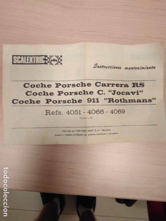 Scalextric: PORSCHE CARRERA RS RORHMANS SCALEXTRIC EXIN CON INSTRUCCIONES ORIGINALES - Foto 6 - 215651238