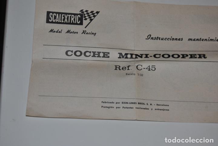 Scalextric: MINI COOPER ROJO CLARO SCALEXTRIC EXIN REF C-45 MADE IN SPAIN CON CAJA ORIGINAL Y MANTENIMIENTO - Foto 10 - 233873270