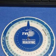 Scalextric: SCALEXTRIC EXIN TVS TABLA DE VELOCIDADES, TRASERA TRAMOS DE PISTAS Y SU LONGITUD EN CENTÍMETROS. Lote 251655910