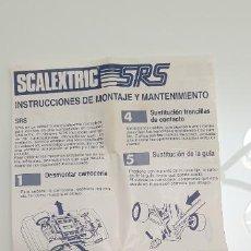 Scalextric: SRS INSTRUCCIONES DE MONTAJE Y MANTENIMIENTO DE SRS FOLLETO ORIGINAL DE SCALEXTRIC EXIN. Lote 252570475