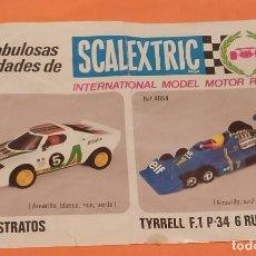 Scalextric: HOJA DE NOVEDADES SCALEXTRIC LANCIA STRATOS Y TYRREL AÑOS 70. Lote 261937025