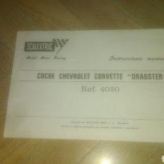 Scalextric: CHEVROLET CORVETTE DRAGSTER. INSTRUCCIONES. R 4050. ORIGINAL. NUEVO A ESTRENAR. VER FOTOS.. Lote 277544668